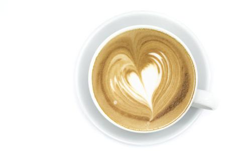 흰색 배경에 커피 아트 라 떼 또는 카푸치노 한잔 스톡 콘텐츠