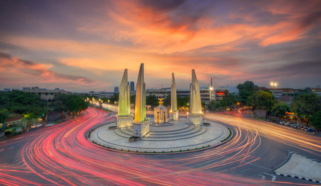 southeast asia: Moment of Democracy monument at Dusk (Bangkok, Thailand)