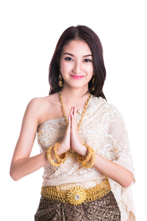 Thai Lady in vintage original Thailand attire Sawasdee action (welcome)