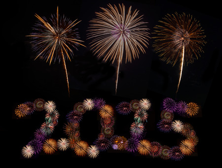 Happy New Year 2015 made of real firwwork photo
