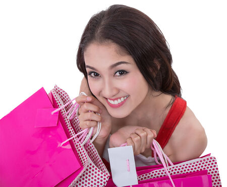 Beautiful Asia woman happy smile hold new year gift box present (clipping part for easy to use) photo