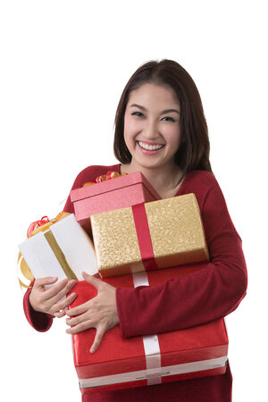 surprise face: Asia lady hold gift box with white isolated background (clipping part for easy to use)