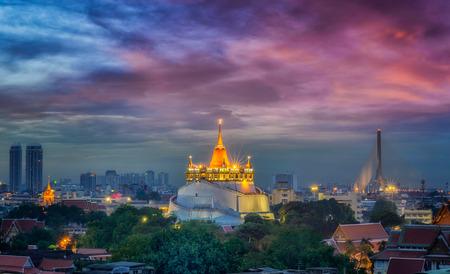 grand palace: Big Pagoda, Bangkok Cityscape at Twilight, The Golden Mountain of Thailand(Wat Sraket, Bangkok) Stock Photo
