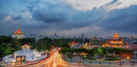 Bangkok Thailand landmark Wat Ratchanaddaram and Loha Prasat Metal, Big golden pagoda and white wall