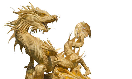 Giant golden Chinese dragon (clipping part for easy use) photo