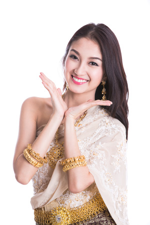 Thai Lady in vintage original Thailand attire dance action Stock Photo