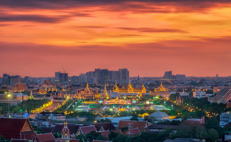 grand father: Grand palace at twilight in Bangkok along Thai father Editorial