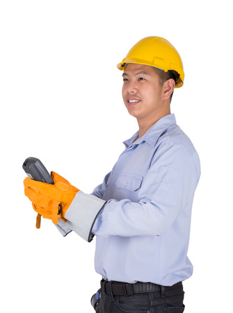 contruction: Engineer holding the remote control (clipping part for easy use)