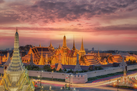 thailand: Wat Phra Kaew, Temple of the Emerald Buddha,Grand palace at twilight in Bangkok, Thailand
