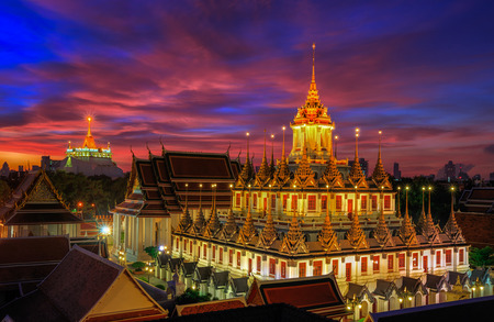 thai decor: Wat Ratchanaddaram and Loha Prasat Metal Palace in Bangkok ,Thailand