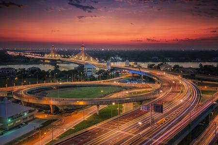nonthaburi: Nonthaburi bridge in Bangkok Thailand road for transportation and sunset