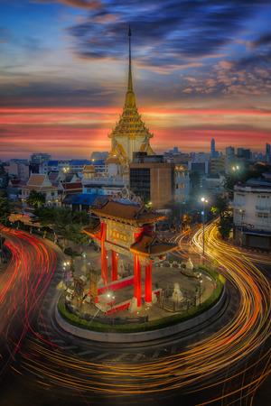 pilgrim journey: Gateway china-town golden Buddha temple Bangkok Thailand at twilight night time