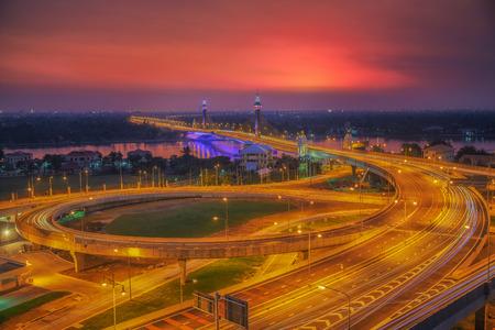 nonthaburi: Nonthaburi bridge transportation and sunset Stock Photo