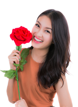 beautiful female holding red roses , valentines day stock photo, Ideas