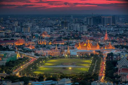 bangkok city: City park, Wat Prakeaw and grand building at twilight in Bangkok, ThailandGrand