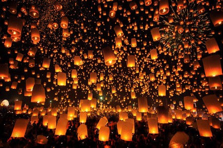 Thai people floating lamp in Tudongkasatarn, Chiangmai, Thailand. Tudongkasatarn is where floating lamp ceremony takes place every year.