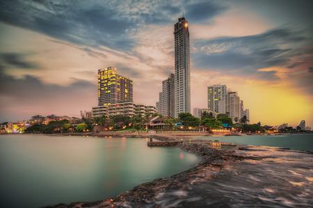 pattaya thailand: Pattaya City and Sea in Twilight, Thailand