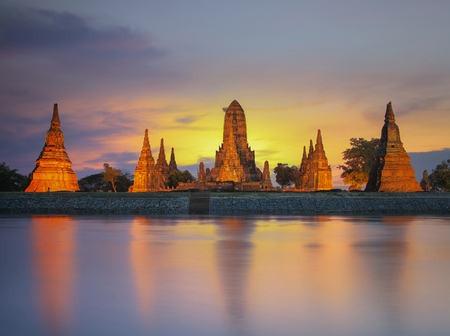 gautama buddha: Old Temple wat Chaiwatthanaram of Ayutthaya Province Ayutthaya Historical Park Asia Thailand