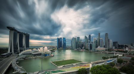 strom: Landscape of Singapore city in day morning time with strom.