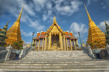 emerald city: Golden pavilion in Wat Phra Kaew Temple of the Emerald BuddhaGrand palace in Bangkok Thailand