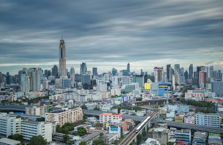 road traffic: sky trains in bangkok city important urban transportation in heart of bangkok thailand Stock Photo