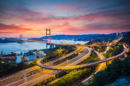 Tsing Ma Bridge, Hong Kong. Road, trafic, link from Hongkong and airport and Port.