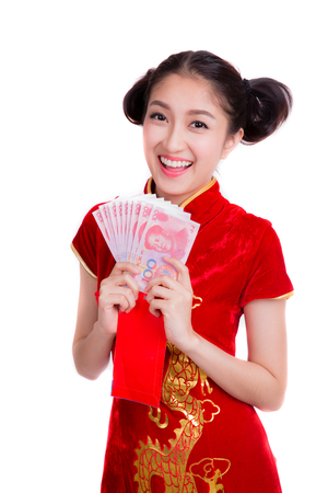 pay money: Asian woman with red pocket for chinese new year, company pay salary with bonus with yuan money