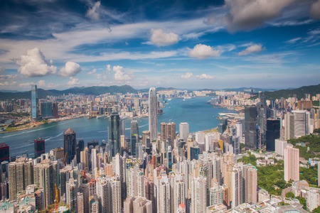 빅토리아 피크, 홍콩 섬, 중국의 꼭대기에서 홍콩 도시와 구 룡시의 관점