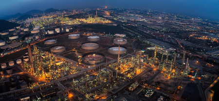 land plant: Land scape of Oil refinery plant from bird eye view on night, refinary plant with oil tank storage, Petrochemical plant, chamical plant, Chonburi, Thailand