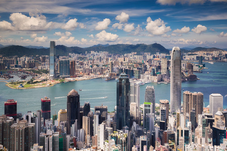 Uitzichtpunt van de stad Hongkong en Kowloon vanaf de top van Victoria Piek, Hong Kong eiland, China Stockfoto