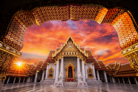 kaew: Wat benchamabophit, The white marble temple with sunset in Bangkok, Thailand. one of main land mark and travel point in Bangkok city