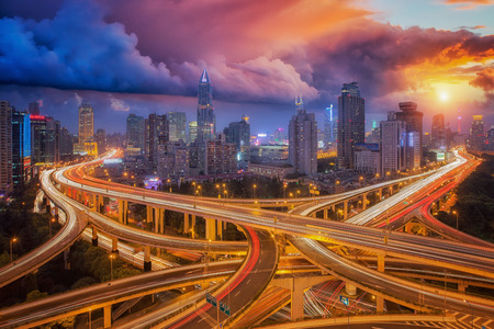 super cross: Cross junction, super highway in shanghai city with sunset sky, Shang hai, China, Asia