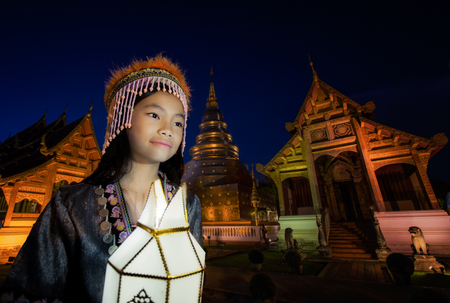 New year, Thai people yeepeng lamp in Phra Singh temple, Chiangmai, Thailand. Chiang mai have yee peng lamp ceremony takes place every year