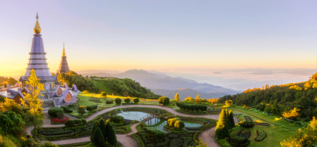 Landscape of two pagoda on the top of Inthanon mountain, Chiang Mai, Thailand. Nature, outdoor, park, and travel