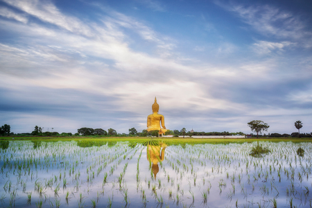 sky reflection: Big gold buddha statue wat muang angtong thailand temple and blue sky and clouds and mirror reflection and nature background