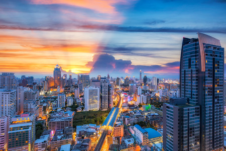 silom: Bangkok city at sunset,subway station BTS , Silom and Sukhumvit area, Thailand