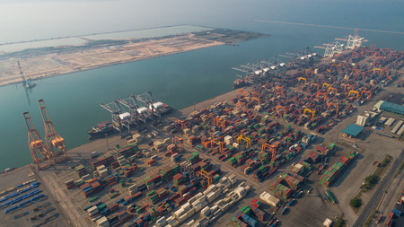 chonburi: Landscape from bird eye view for Laem chabang logistic port, Chonburi, Thailand. Logistic, delivery container and delivery concept