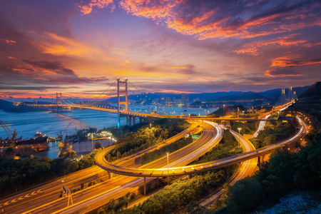 Tsing ma bridge link between airport and Hong kong city, main transportation in Hongkong, China. Stock Photo - 72421077