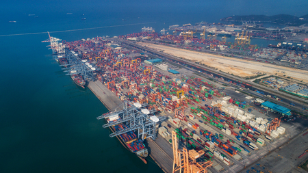 Landscape from bird eye view for Laem chabang logistic port, Chonburi, Thailand. Logistic, delivery container and delivery concept