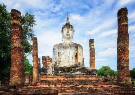 Buddha statues at Wat Mahathat ancient capital of Sukhothai, Thailand. Editorial