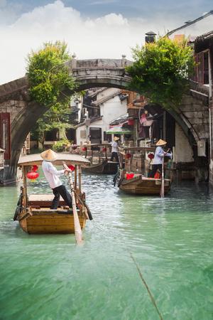 zhouzhuang: Shanghai Zhujiajiao town with boat and historic buildings