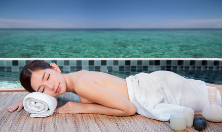 seach: Sea and spa turquoise beach chiropractic massage therapy woman, thailand summer concept for resort, hotel and spa