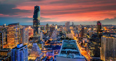 silom: Bangkok city at sunset, Mahanakorn tower, Silom area, Bangkok, Thailand