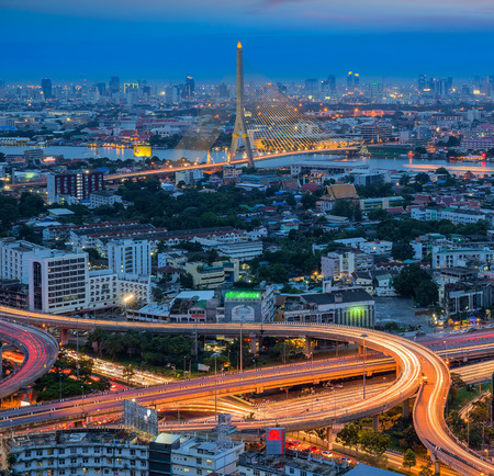 Rama 8 Bridge with Bangkok City at night