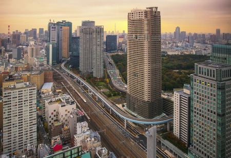 Tokyo, Japan cityscape and monorail in morning. Stock Photo
