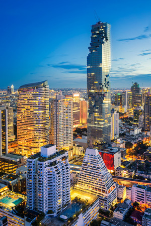 silom: Bangkok city at sunset, Bangkok night, Mahanakorn tower, Silom area, Bangkok, Thailand