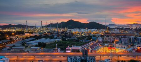 plant oil: Lamchabang city, oil refinery industry plant at twilight morning Stock Photo