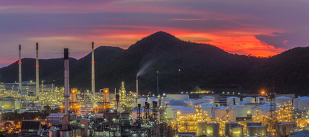 Landscape of oil refinery industry with oil storage tank, Thai oil and gas refinery industrial area in Chonburi, Thailand