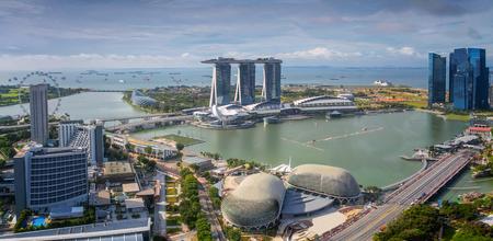 Skyline van Singapore. De stad van Singapore in moring, dagtijd.