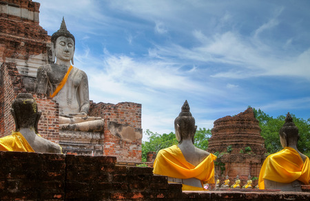 Old Temple Architecture , Wat Yai Chai Mongkol at Ayutthaya, Thailand, World Heritage Site
